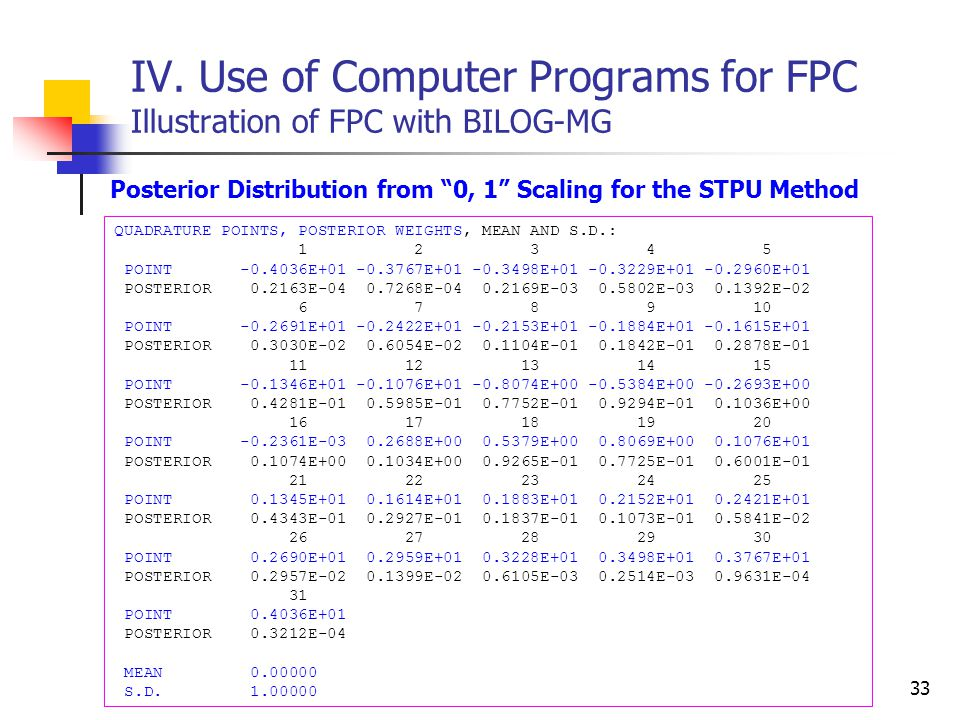 "33 IV. Use of Computer Programs for FPC Illustration of FPC with BILOG-MG Posterior Distribution from ""0, 1"" Scaling for the STPU Method QUADRATURE PO"
