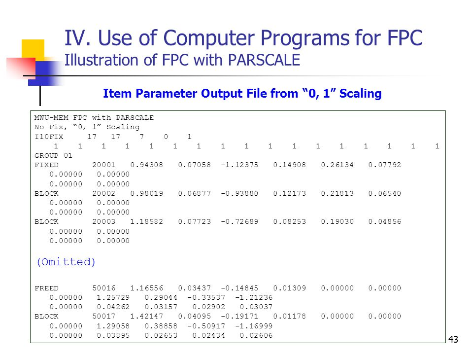 "43 IV. Use of Computer Programs for FPC Illustration of FPC with PARSCALE Item Parameter Output File from ""0, 1"" Scaling MWU-MEM FPC with PARSCALE No"