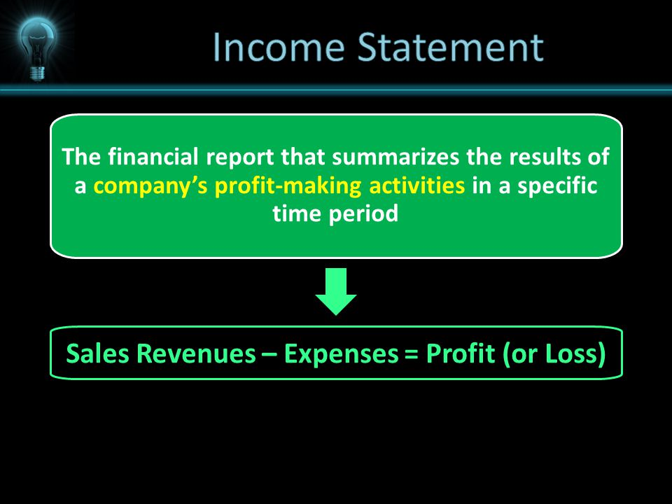 The financial report that summarizes the results of a company's profit-making activities in a specific time period Sales Revenues – Expenses = Profit (or Loss)