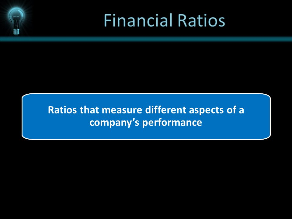 Ratios that measure different aspects of a company's performance
