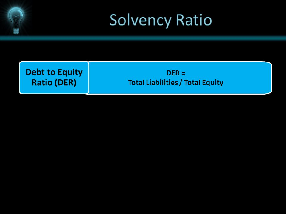 DER = Total Liabilities / Total Equity Debt to Equity Ratio (DER)