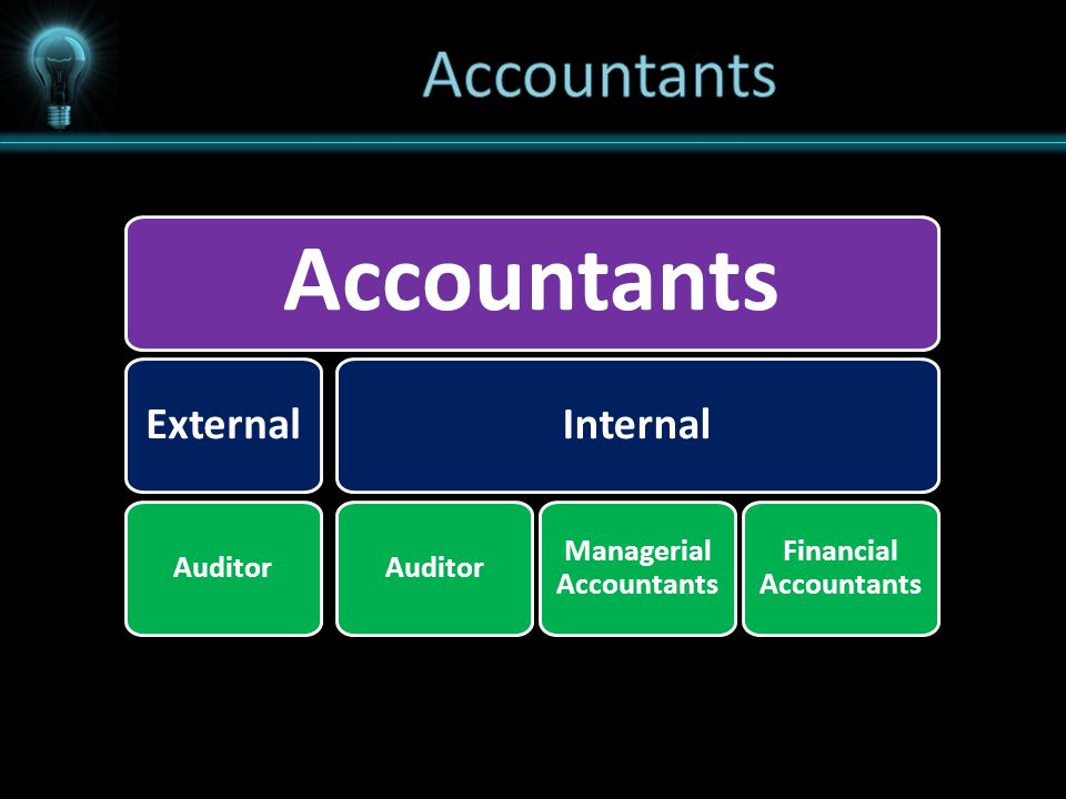 Accountants External Auditor Internal Auditor Managerial Accountants Financial Accountants
