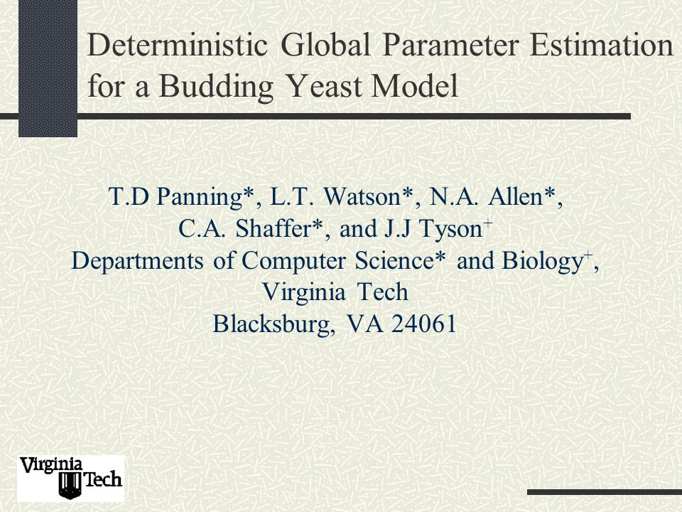 Deterministic Global Parameter Estimation for a Budding Yeast Model T.D Panning*, L.T.