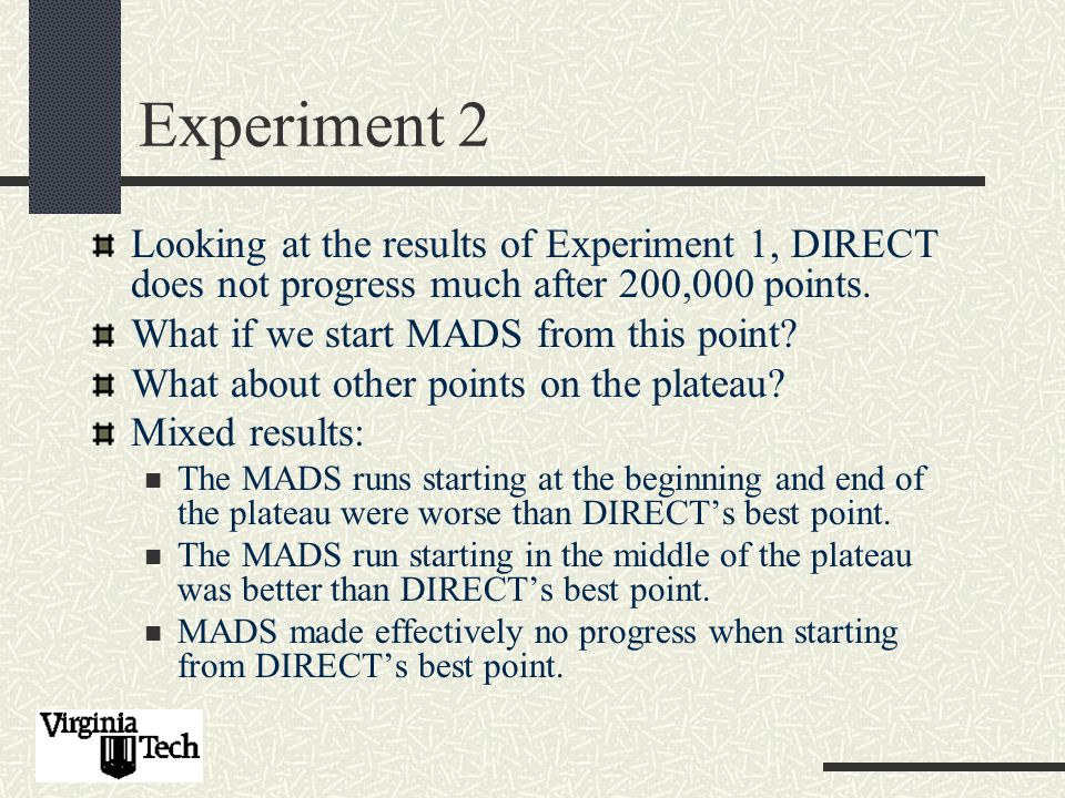 Experiment 2 Looking at the results of Experiment 1, DIRECT does not progress much after 200,000 points.