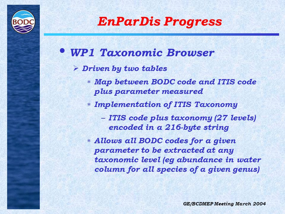 GE/BCDMEP Meeting March 2004 EnParDis Progress WP1 Taxonomic Browser  Driven by two tables  Map between BODC code and ITIS code plus parameter measured  Implementation of ITIS Taxonomy – ITIS code plus taxonomy (27 levels) encoded in a 216-byte string  Allows all BODC codes for a given parameter to be extracted at any taxonomic level (eg abundance in water column for all species of a given genus)