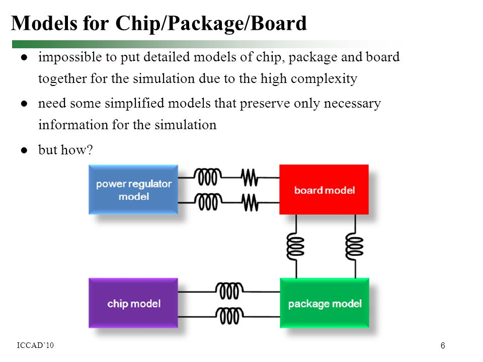 6 ICCAD'10 impossible to put detailed models of chip, package and board together for the simulation due to the high complexity need some simplified mo