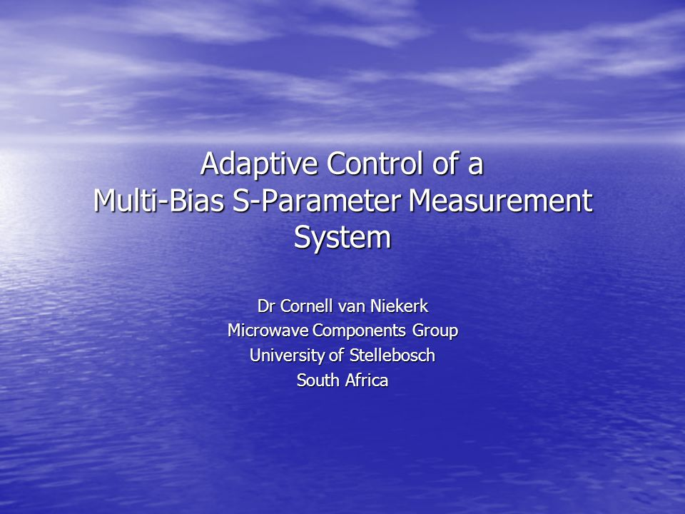 University of Stellenbosch, Department of Electronic Engineering2 Presentation Overview Introduction & Background Information Introduction & Background Information Equivalent Circuit Non-Linear Modeling Equivalent Circuit Non-Linear Modeling Adaptive Algorithm Requirements Adaptive Algorithm Requirements Defining the Safe Operating Area (SOA) of a Device Defining the Safe Operating Area (SOA) of a Device S-Parameter Driven Adaptive Measurement Algorithms S-Parameter Driven Adaptive Measurement Algorithms DC Driven Adaptive Measurement Algorithms DC Driven Adaptive Measurement Algorithms Results & Conclusions Results & Conclusions