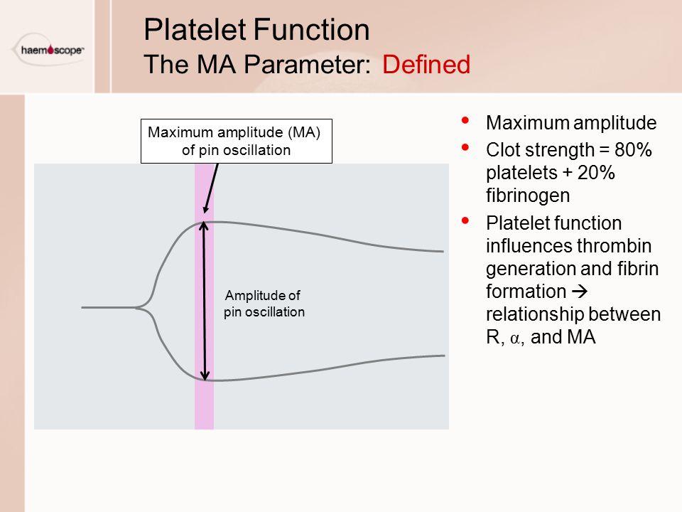 Platelet Function The MA Parameter: Defined Maximum amplitude Clot strength = 80% platelets + 20% fibrinogen Platelet function influences thrombin generation and fibrin formation  relationship between R, α, and MA Amplitude of pin oscillation Maximum amplitude (MA) of pin oscillation