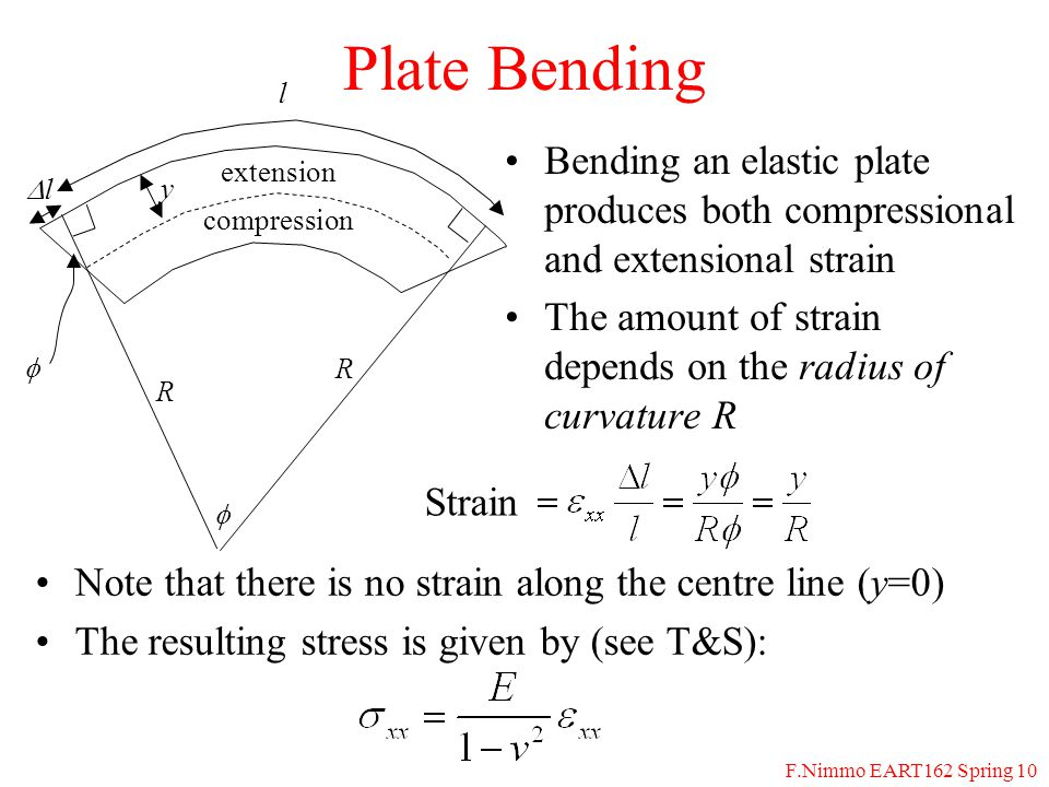 F.Nimmo EART162 Spring 10 Plate Bending Bending an elastic plate produces both compressional and extensional strain The amount of strain depends on the radius of curvature R extension compression  y  ll l Strain R R Note that there is no strain along the centre line (y=0) The resulting stress is given by (see T&S):