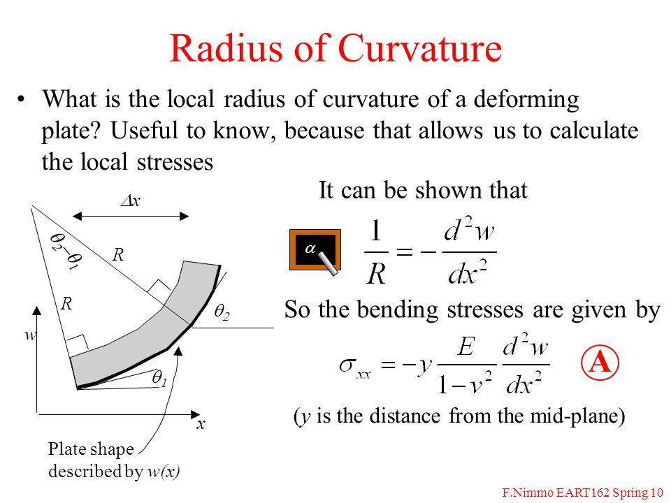 F.Nimmo EART162 Spring 10 Radius of Curvature What is the local radius of curvature of a deforming plate.
