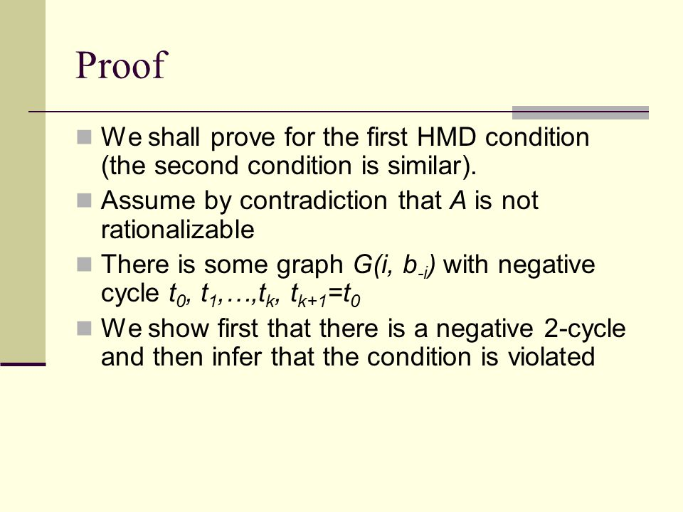 Proof We shall prove for the first HMD condition (the second condition is similar).