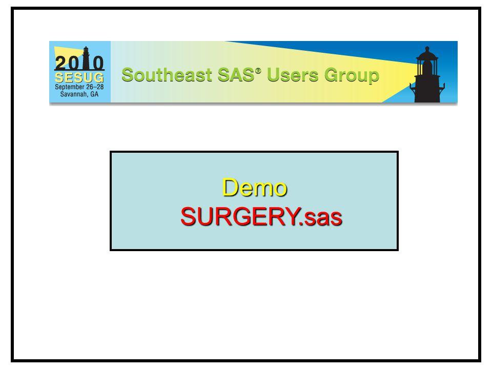 Demo SURGERY.sas SURGERY.sas