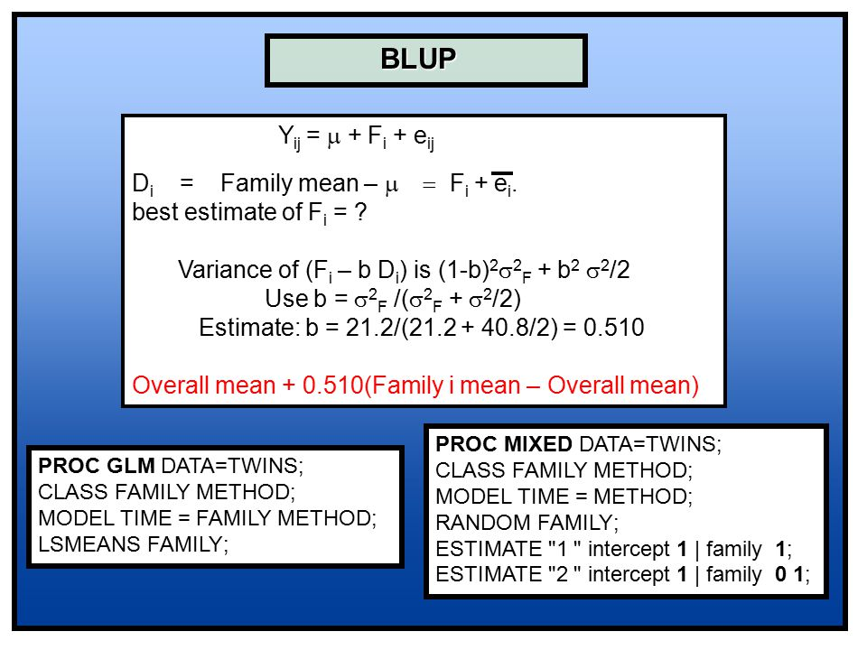 BLUP Y ij =  + F i + e ij D i = Family mean –  F i + e i. best estimate of F i = ? Variance of (F i – b D i ) is (1-b) 2  2 F + b 2  2 /2 Use