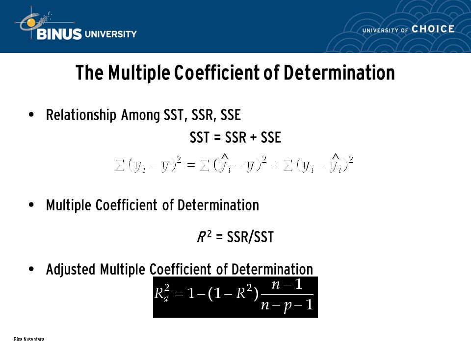 Bina Nusantara The Multiple Coefficient of Determination Relationship Among SST, SSR, SSE SST = SSR + SSE Multiple Coefficient of Determination R 2 = SSR/SST Adjusted Multiple Coefficient of Determination ^^