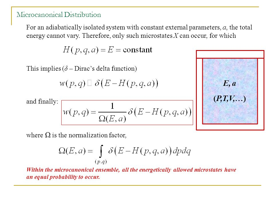 For an adiabatically isolated system with constant external parameters, a, the total energy cannot vary.