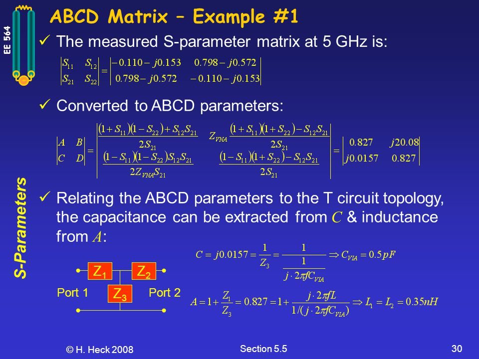 S-Parameters EE 564 © H. Heck 2008 Section 5.530 ABCD Matrix – Example #1 The measured S-parameter matrix at 5 GHz is: Converted to ABCD parameters: R