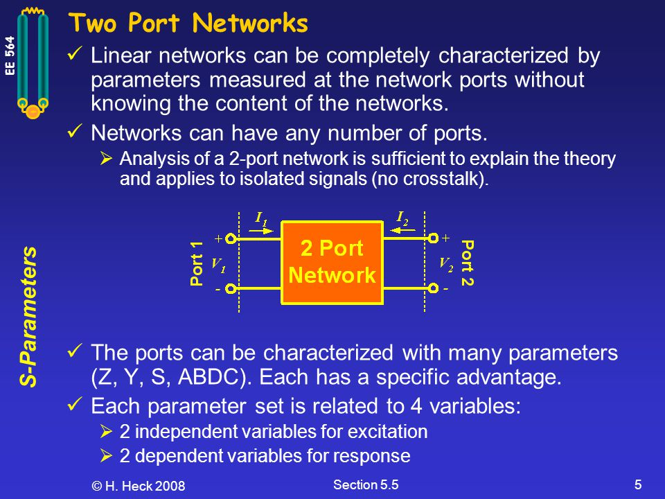 S-Parameters EE 564 © H. Heck 2008 Section 5.55 Two Port Networks Linear networks can be completely characterized by parameters measured at the networ