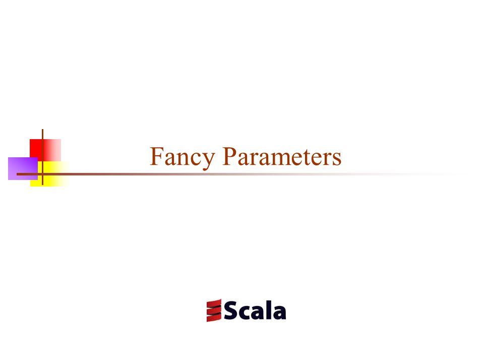 Class parameters When you define a class, you typically give it parameters scala> class Point(val x: Double, val y: Double) defined class Point scala> val p = new Point(3.7, 4.2) p: Point = Point@452d56cc scala> p.x res11: Double = 3.7 Declaring a parameter with val makes the value accessible from outside the class Declaring a parameter with var makes it accessible and changeable from outside the class Use this with extreme care—basically, only when changing the value to some garbage value cannot cause an error Declaring a parameter with neither val nor var makes it private to the class (inaccessible from outside) Note: Objects created with object (rather than from a class) don't take parameters 2