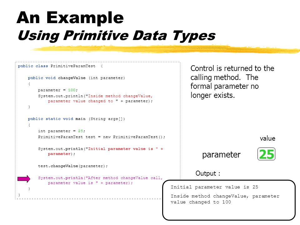 An Example Using Primitive Data Types public class PrimitiveParamTest { public void changeValue (int parameter) { parameter = 100; System.out.println( Inside method changeValue, parameter value changed to + parameter); } public static void main (String args[]) { int parameter = 25; PrimitiveParamTest test = new PrimitiveParamTest(); System.out.println( Initial parameter value is + parameter); test.changeValue(parameter); System.out.println( After method changeValue call, parameter value is + parameter); } Control is returned to the calling method.