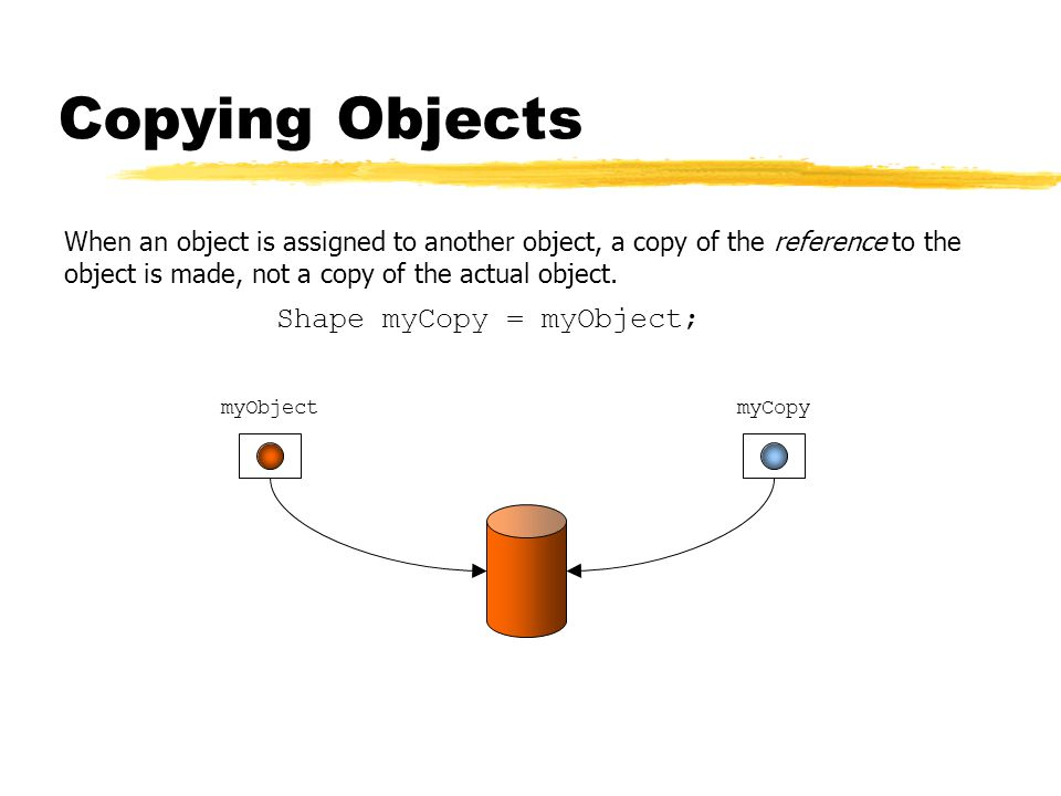 Copying Objects When an object is assigned to another object, a copy of the reference to the object is made, not a copy of the actual object.