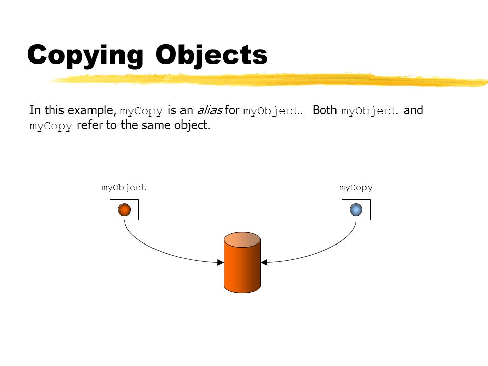 Copying Objects In this example, myCopy is an alias for myObject.