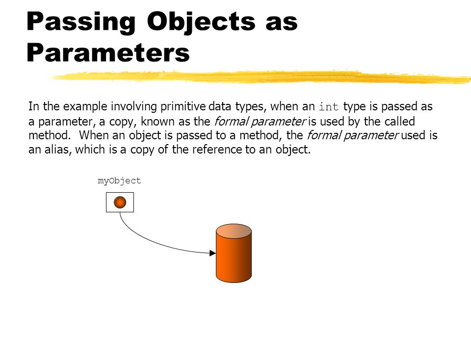 Passing Objects as Parameters In the example involving primitive data types, when an int type is passed as a parameter, a copy, known as the formal parameter is used by the called method.