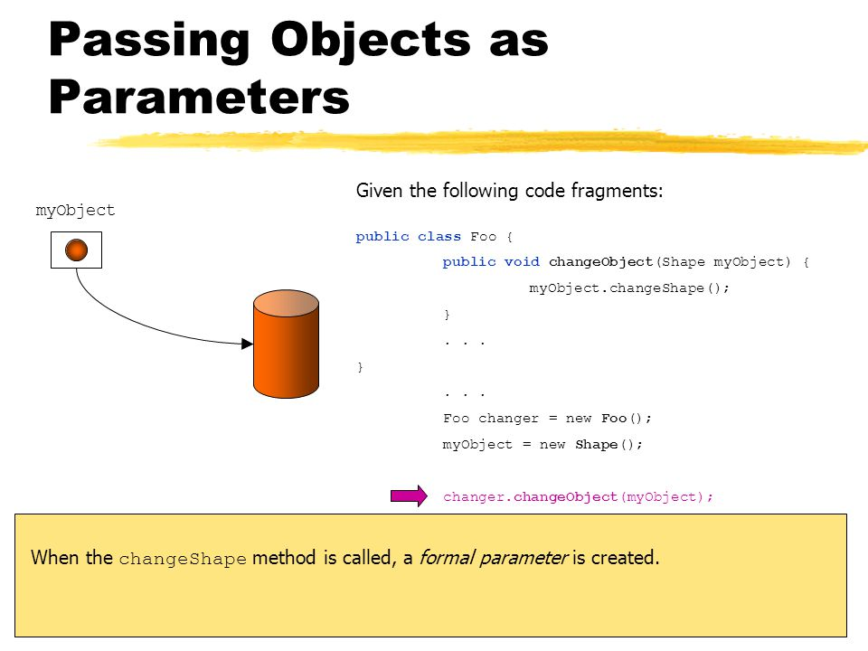 Passing Objects as Parameters myObject Given the following code fragments: public class Foo { public void changeObject(Shape myObject) { myObject.changeShape(); }...