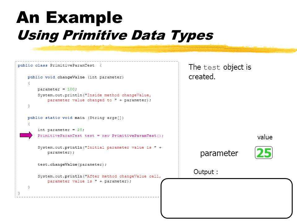 An Example Using Primitive Data Types public class PrimitiveParamTest { public void changeValue (int parameter) { parameter = 100; System.out.println( Inside method changeValue, parameter value changed to + parameter); } public static void main (String args[]) { int parameter = 25; PrimitiveParamTest test = new PrimitiveParamTest(); System.out.println( Initial parameter value is + parameter); test.changeValue(parameter); System.out.println( After method changeValue call, parameter value is + parameter); } The value of parameter is displayed.