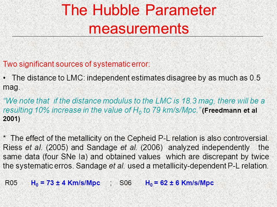 The Hubble Parameter measurements Two significant sources of systematic error: The distance to LMC: independent estimates disagree by as much as 0.5 mag.