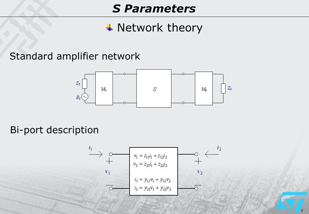 2 S Parameters Network theory Standard amplifier network Bi-port description