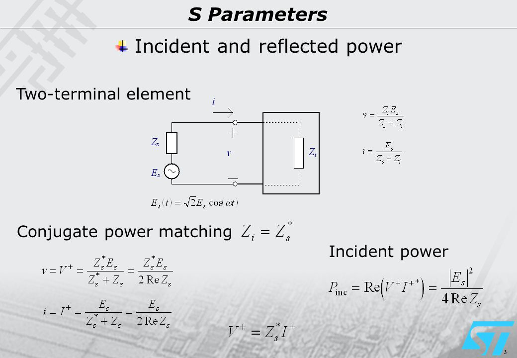 3 S Parameters Two-terminal element Conjugate power matching Incident and reflected power Incident power