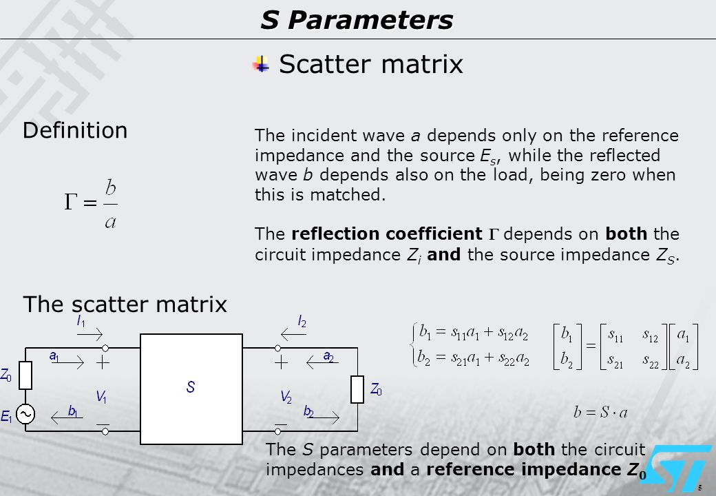 5 S Parameters Definition The scatter matrix Scatter matrix The incident wave a depends only on the reference impedance and the source E s, while the reflected wave b depends also on the load, being zero when this is matched.