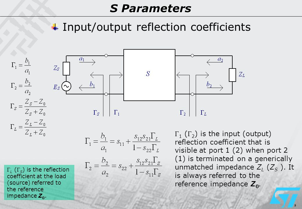 10 S Parameters Power definitions The available power is the maximum power transferable from the source to the load (conjugate power matching).