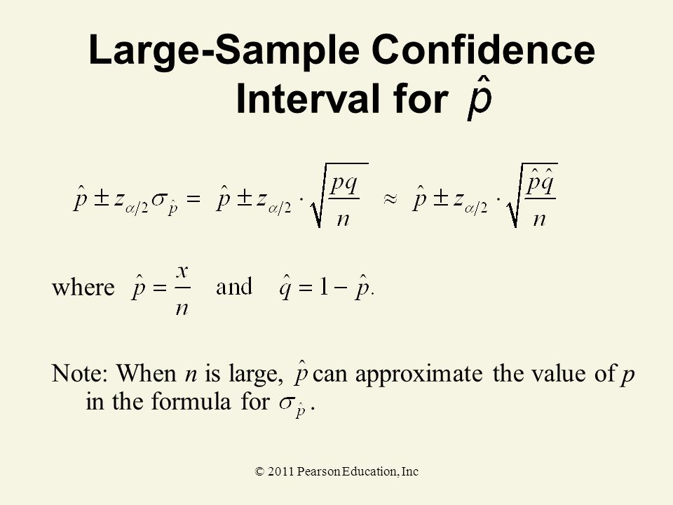© 2011 Pearson Education, Inc where Large-Sample Confidence Interval for Note: When n is large, can approximate the value of p in the formula for.