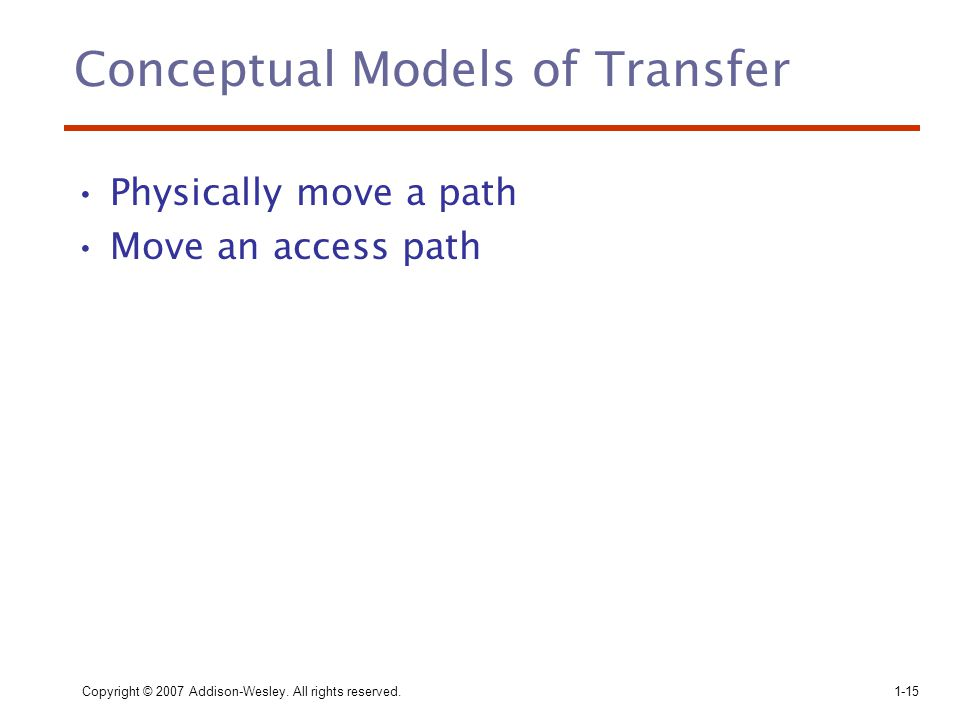 Copyright © 2007 Addison-Wesley. All rights reserved.1-15 Conceptual Models of Transfer Physically move a path Move an access path