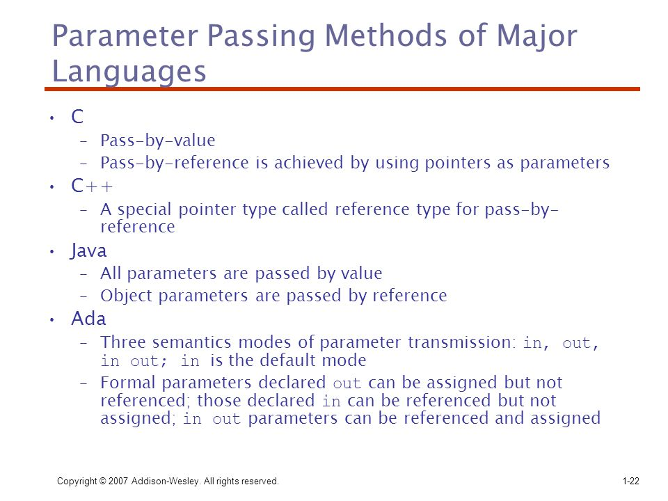 Copyright © 2007 Addison-Wesley. All rights reserved.1-22 Parameter Passing Methods of Major Languages C –Pass-by-value –Pass-by-reference is achieved