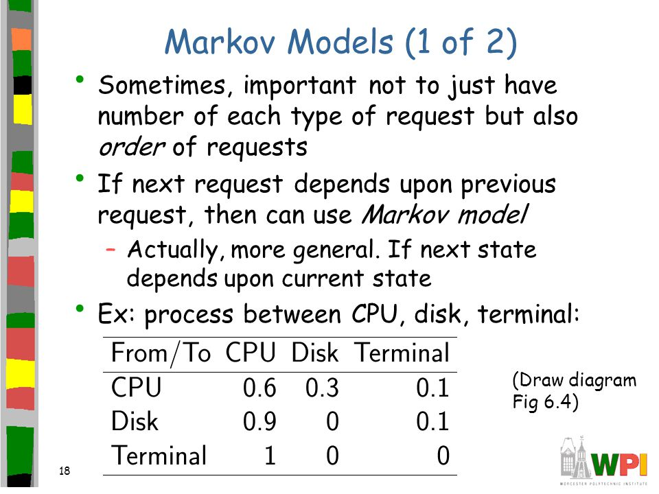 18 Markov Models (1 of 2) Sometimes, important not to just have number of each type of request but also order of requests If next request depends upon previous request, then can use Markov model –Actually, more general.