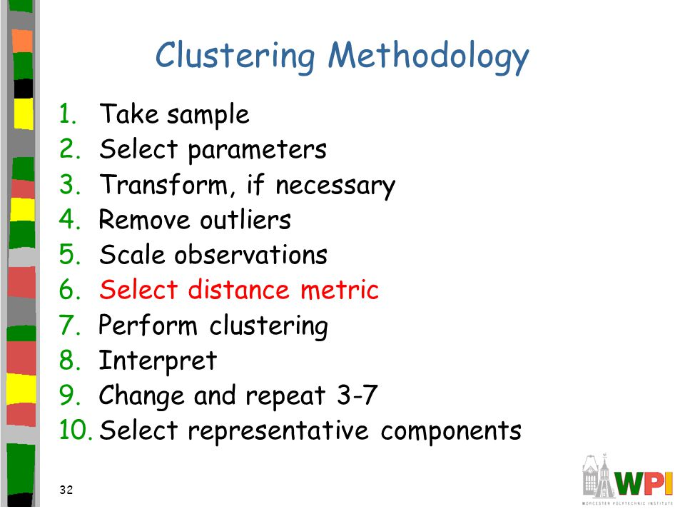 32 Clustering Methodology 1.Take sample 2.Select parameters 3.Transform, if necessary 4.Remove outliers 5.Scale observations 6.Select distance metric 7.Perform clustering 8.Interpret 9.Change and repeat 3-7 10.Select representative components