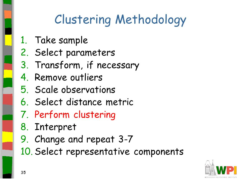 35 Clustering Methodology 1.Take sample 2.Select parameters 3.Transform, if necessary 4.Remove outliers 5.Scale observations 6.Select distance metric 7.Perform clustering 8.Interpret 9.Change and repeat 3-7 10.Select representative components