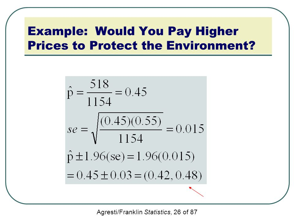 Agresti/Franklin Statistics, 26 of 87 Example: Would You Pay Higher Prices to Protect the Environment?