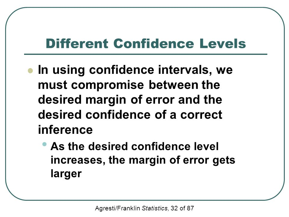 Agresti/Franklin Statistics, 32 of 87 Different Confidence Levels In using confidence intervals, we must compromise between the desired margin of erro