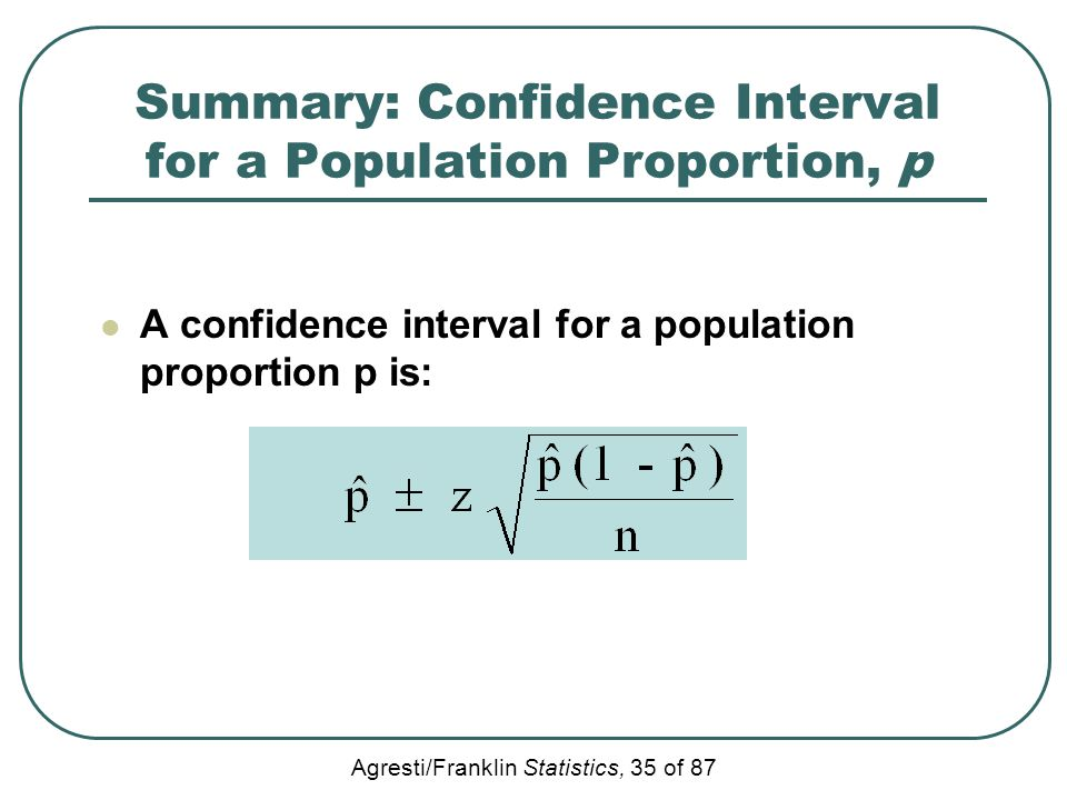 Agresti/Franklin Statistics, 35 of 87 Summary: Confidence Interval for a Population Proportion, p A confidence interval for a population proportion p