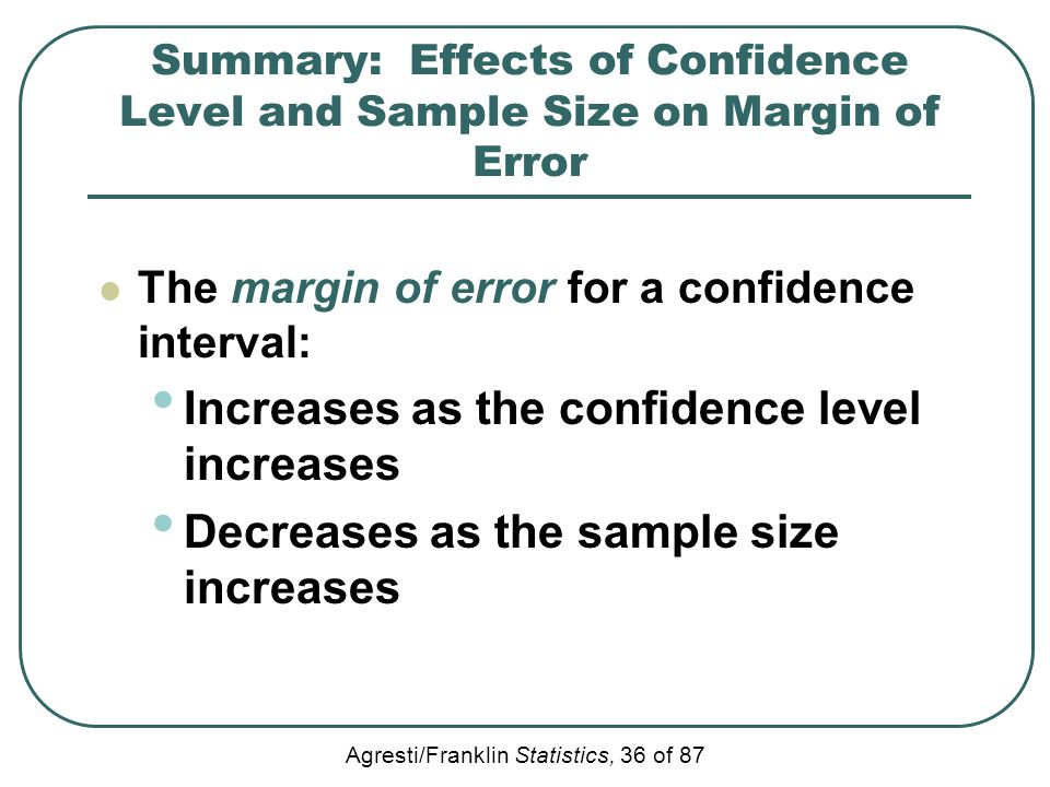 Agresti/Franklin Statistics, 36 of 87 Summary: Effects of Confidence Level and Sample Size on Margin of Error The margin of error for a confidence int
