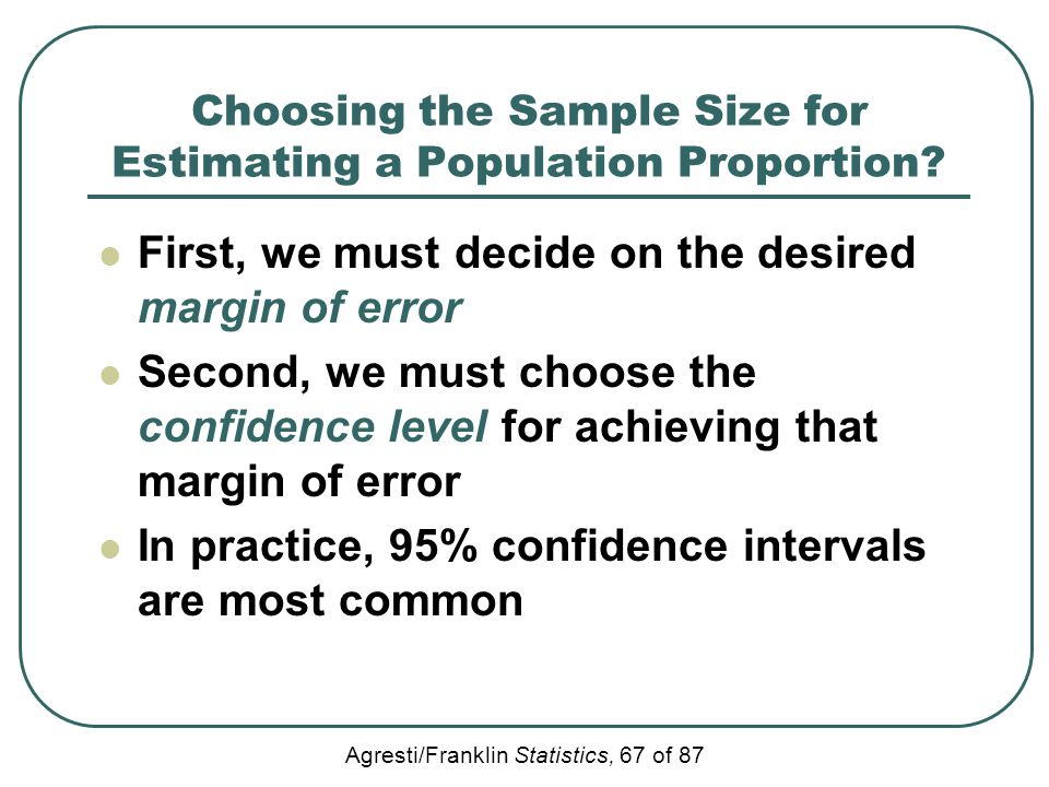 Agresti/Franklin Statistics, 67 of 87 Choosing the Sample Size for Estimating a Population Proportion? First, we must decide on the desired margin of