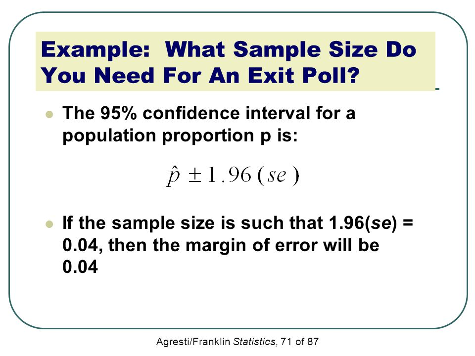 Agresti/Franklin Statistics, 71 of 87 Example: What Sample Size Do You Need For An Exit Poll? The 95% confidence interval for a population proportion