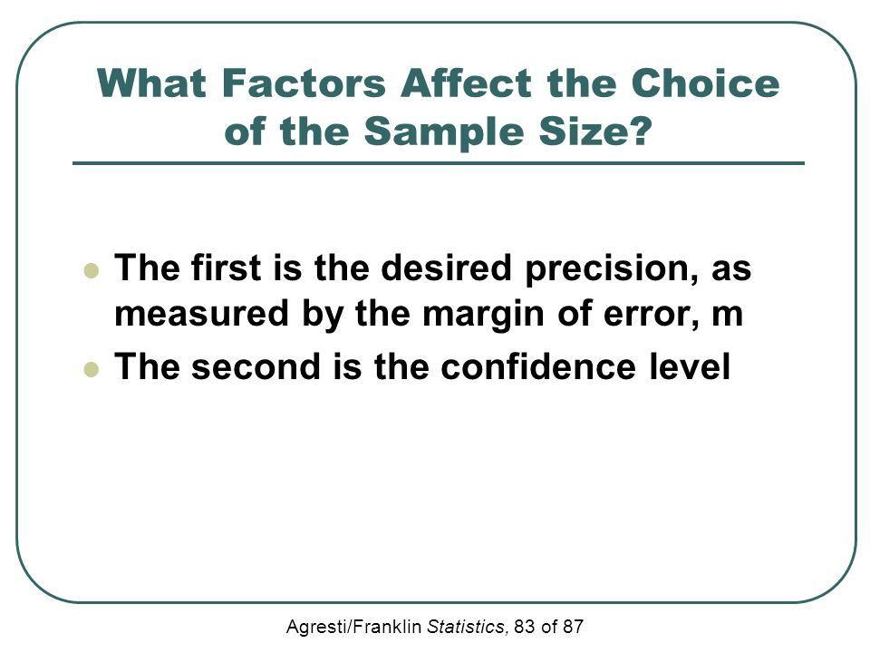 Agresti/Franklin Statistics, 83 of 87 What Factors Affect the Choice of the Sample Size? The first is the desired precision, as measured by the margin