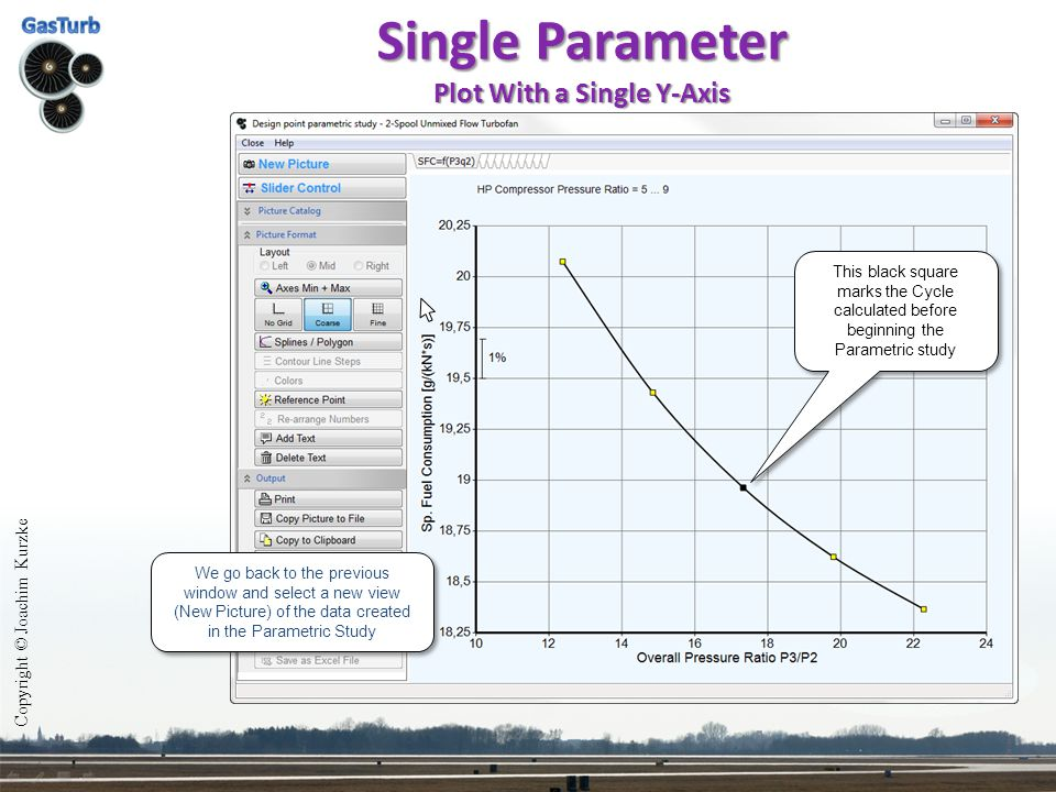 Single Parameter Plot With a Single Y-Axis Copyright © Joachim Kurzke We go back to the previous window and select a new view (New Picture) of the dat