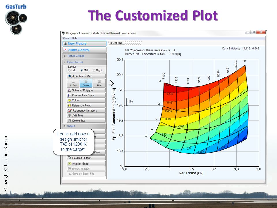 The Customized Plot Copyright © Joachim Kurzke Let us add now a design limit for T45 of 1200 K to the carpet. Let us add now a design limit for T45 of