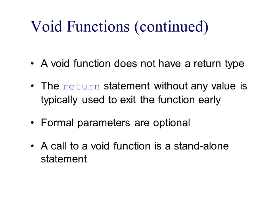 Summary (continued) An automatic variable is a variable for which memory is allocated on function (or block) entry and deallocated on function (or block) exit A static variable is a variable for which memory remains allocated throughout the execution of the program