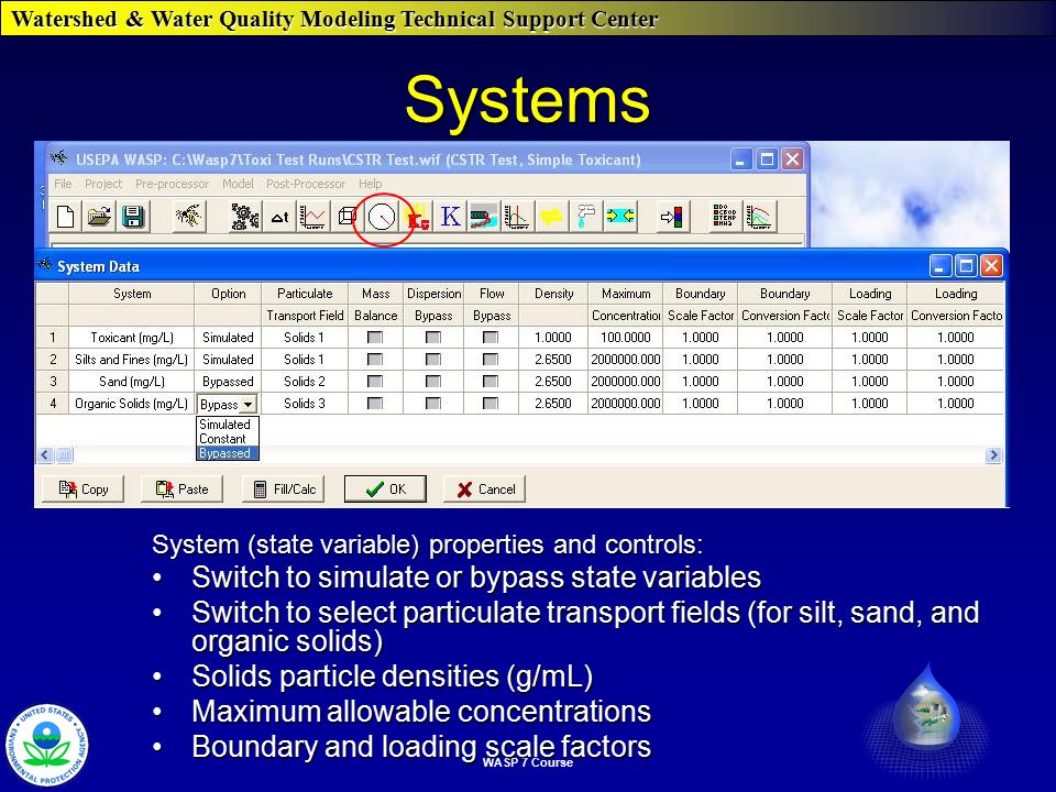 Watershed & Water Quality Modeling Technical Support Center WASP 7 Course Systems System (state variable) properties and controls: Switch to simulate or bypass state variablesSwitch to simulate or bypass state variables Switch to select particulate transport fields (for silt, sand, and organic solids)Switch to select particulate transport fields (for silt, sand, and organic solids) Solids particle densities (g/mL)Solids particle densities (g/mL) Maximum allowable concentrationsMaximum allowable concentrations Boundary and loading scale factorsBoundary and loading scale factors